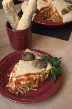 Spaghetti Pie with Garlic Bread Crust