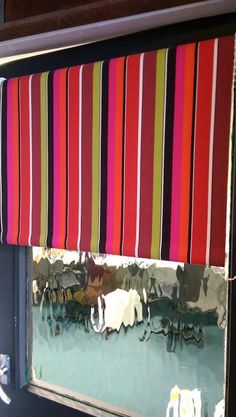 Striped roller blinds from The Stripes Company. Made to measure roller blinds in the UK available with fabric covered pelmets Roman Blinds, Curtains With Blinds, Striped Roller Blinds, Beautiful Blinds, Pelmets, Striped Fabrics, Red Stripes, Fabric Covered, Brick