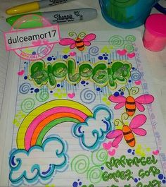 Divino para que marqués tus cuadernos Diy And Crafts, Arts And Crafts, Page Decoration, Mothers Day Crafts For Kids, School Notebooks, Decorate Notebook, Border Design, Smash Book, Cover Pages