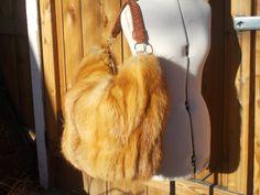 Real Huge Fluffy Red Fox Fur Bag Handmade in by DawnONeillDesigns