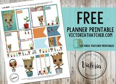 Free Printable I Am Groot Planner Stickers from Victoria Thatcher