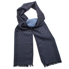 Berg & Berg navy wool-silk scarf with blue dots