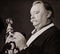 Jiri Trnka with a puppet from A Midsummer Night's Dream