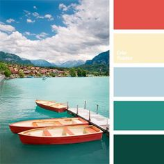 Color inspiration for design, wedding or outfit. More color pallets on… Orange Color Palettes, Blue Colour Palette, Colour Schemes, Color Patterns, Color Combos, Room Colors, House Colors, Paint Colors, Orange And Turquoise