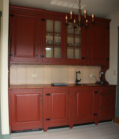 KITCHEN BAR VANITY IN BARN RED PAINT * David T. Smith Workshops.