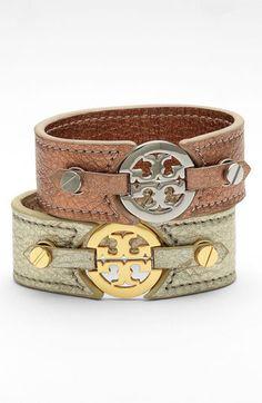 Tory Burch Logo Metallic Leather Bracelet - Nordstrom