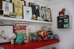 I'd rather be thrifting (love the clipboards and flip clock too) Mini Loft, Office Setup, Office Decor, Small Shelves, Floating Shelves, Creative Office Space, Family Room Design, Create Space, Getting Organized