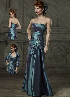 Gorgeous Taffeta Strapless Neckline full length Inverted Basque Waist Mermaid Mother of the Bride Dress with A Jacket