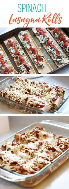 Freezer meal, spinach lasagna roll recipe. A family favorite packed with spinach, marinara sauce, and yummy cheese!