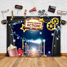 Discounted Hollywood - Movie Theme Photography Backdrop and Studio Props DIY Kit. Great as Dress-up and Awards Night Ceremony Photo Booth Background, Vintage Costume Birthday Party Supplies and Event Decorations #Electronics #GG-1611 #GG-1611 #GlitteryGarden #GlitteryGarden Photo Booth Background, Photo Booth Props, Background Vintage, Photo Booths, Backdrop Background, Party Background, Background Decoration, Hollywood Theme Decorations, Movie Theme Decorations