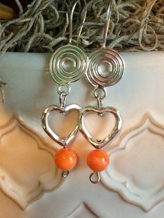 Silver Heart with Orange Beaded Fish Hook Earrings by DungleBees, $13.99