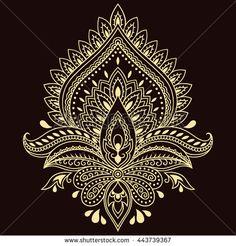 Henna tattoo flower template in Indian style. Ethnic  floral paisley - Lotus. Mehndi style. Mandala Art, Mandala Drawing, Mandala Tattoo, Estilo Mehndi, Rangoli Designs, Henna Designs, Henna Kunst, Hena, Hand Der Fatima