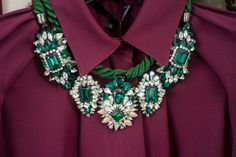 Swarovski encrusted necklace in emerald green from the Parisian designer Shourouk Rhaiem #jewelry #accessories #style #fashion
