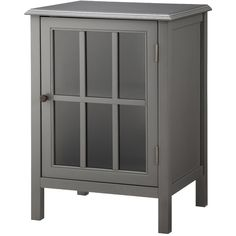 Accent Table: Threshold Windham One Door Storage Cabinet - Gray ($90) ❤ liked on Polyvore featuring home, furniture, storage & shelves, storage chest, cabinets + bookcases, grey, storage chests and trunks, storage cabinets, contemporary storage furniture e colored furniture
