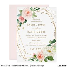 Blush Gold Floral Geometric Wedding Invitation More modern floral Wedding Invitations in the Little Bayleigh Store! Customize these invitations / products for your weddings. Quince Invitations, Summer Wedding Invitations, Engagement Party Invitations, Bridal Shower Invitations, Communion Invitations, Birthday Invitations, Invites, Invitation Wording, Invitation Suite