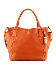 Prada: Daino Side-Pocket Tote Bag, (Orange) Papaya