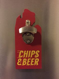 ]Fire Up Chips! Open up Beers! This magnetic bottle opener work best in Mount Pleasant but seems to make itself at home in the Metro Detroit area and abroad.  #michigan #centralmichigan #cmu #chips #fireupchips #bottleopener #greatlakesstate #mittenstate #beer