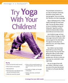 Use this Message in a Backpack to help families find unique ways to try yoga with their children.