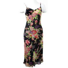 Superbe robe 100% soie fleurs vintage authentique !