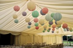 Paper lantern marquee canopy. Lighting by Oakwood Events.