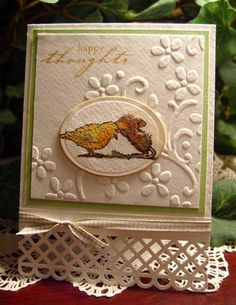 Little card for someone needing a hug. Thought this image would do. It always makes me smile. Water colored and Fun Flocked, it rests on SU's embossing folder and has an MS gated border punch. The sentiment is from an unmarked set so I have no idea where it came from, but I love the font.   Thanks for looking.