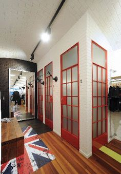 English phone box inspired fitting rooms!    Design Aloud blog | Retail | Office | Hospitality: Interior Fitout Feature - Clash Newmarket