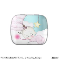 Sweet Moon Baby Girl Shower Mints and Candy Jelly Belly Candy Tins