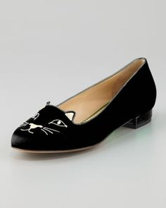 Women's Charlotte Olympia Kitty Cat Satin Flat Slipper, Black in Spring Gift 2013 from Neiman Marcus on shop.CatalogSpree.com, my personal digital mall.
