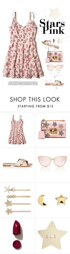 """Pink starts"" by gabyidc ❤ liked on Polyvore featuring Hollister Co., Gucci, Tabitha Simmons, Tasha, Erica Weiner and NARS Cosmetics"