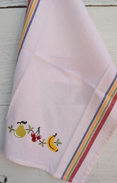 Retro Tea towel embroidered with Fruit Cocktail motif, Cotton, Washable, Convenient loop for hanging, Multicolored Stripes both Sides. by NestingInstinctShop on Etsy