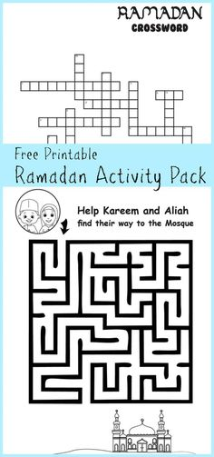 ramadan printable activity pack for kids including maze and crossword with islamic themes Ramadan Activities, Printable Activities For Kids, Worksheets For Kids, Book Activities, Toddler Activities, Teaching Resources, Eid Crafts, Ramadan Crafts, Ramadan Decorations