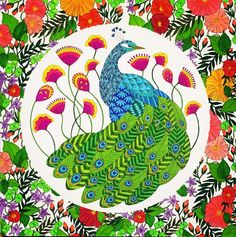 Peacock From Animal Kingdom Coloured Using Stabilo 88 Fineliners