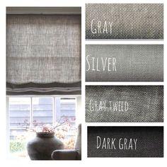 Natural Gray Linen Flat Roman Shades, Faux Roman Valances, & Curtains