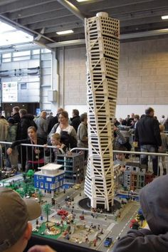Turning Torso in Malmoe Sweden. Second tallest appartment building in Europe. See more LEGO World pictures at Lego Building, Building Design, Lego Skyscraper, Lego Ship, Lego Worlds, Lego Group, Lego Models, Lego Projects, World Pictures