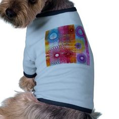 Bold Colorful Funky Spirographs and Stripes Doggie Tee
