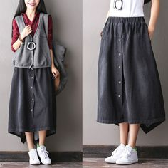 Black/Blue White Button Cowboy A-Style Cotton Skirt Vintage Dress Women Clothes R0502A