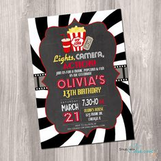 Movie Party Invitation, Movie night birthday invitation, chalkboard invitation, movie birthday, movie party, digital, printable invitation