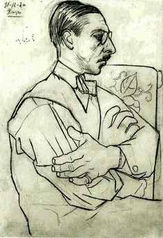 Stravinski, 1920 by Pablo Picasso (Spanish 1881-1973) - Under the direction and mentorship of Serge Diaghilev, the visual artists, composers and choreographers worked with the Ballets Russes. The Visionary Russian Entrepreneur hired Picasso, Stravinsky and Balanchine to Revolutionize the Ballet.