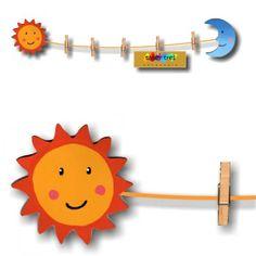 83805fc3b2f Tendedero adhesivo Sol. Tendedero con un cordón y cinco pinzas pequeñas de  madera para colgar