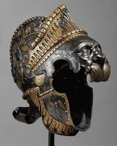 Armor helmet. fierce head gear. Sturmhaube in Form eines nemeischen Löwen aus einem all'antica Ensemble mit Rundschild (A 693a)