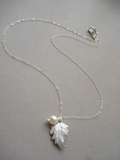 leaf & pearl necklace from Etsy