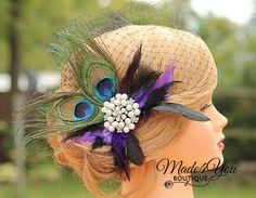 Peacock Birdcage VeilLarge Jewel Fascinator by Made4YouBoutique, $68.00 @Lois VanderWoude Jones
