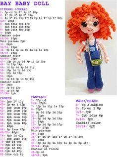 Crochet Parrot, Crochet Bunny, Crochet For Kids, Crochet Flowers, Free Crochet, Crochet Doll Pattern, Crochet Patterns Amigurumi, Amigurumi Doll, Crochet Dolls