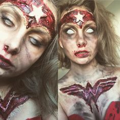 Zombie Wonder Woman Halloween 2018, Halloween Look, Amazing Halloween Makeup, Halloween Inspo, Halloween Horror, Halloween Face Makeup, Spx Makeup, Haunted House Makeup, Creepy Makeup