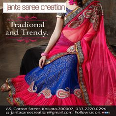 Look traditional yet trendy with our latest designer collections made just for you. #DressRight #Style #Fashion #JantaSareeCreation