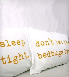 """Sleep Tight, Don't Let the Bedbugs Bite"" Pillowcases - Mustard Yellow by Urban Bird & Co. on Scoutmob Shoppe"