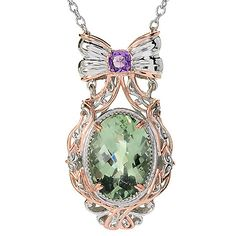 "148-654- Gems en Vogue 18"" 5.05ctw Montezuma Prasiolite & Amethyst Necklace"