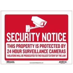 """States """"Security Notice"""" in red and has a white backing Durable plastic, weatherproof Bright and highly visible 9 inch x 12 inch sign"""