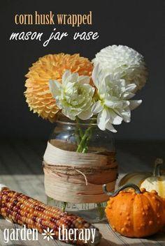 Fall Arrangement: Corn Husk Wrapped Mason Jar Vase.