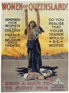 An excellent example of Australian First World War recruiting posters aimed at women, rather than potential soldiers. The poster suggests that in helping defeat Germany, women were really . Ww1 Posters, Political Posters, Political Cartoons, World War One, First World, Magic In The Moonlight, Australian Vintage, Women In History, Wwi
